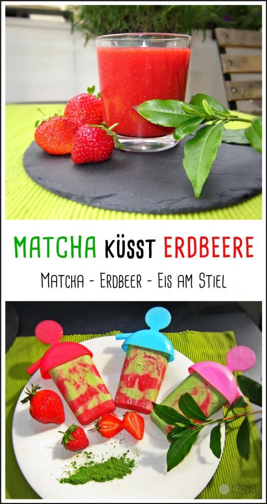 Matcha und Erdbeere in Kombination als Eis am Stiel. Erdbeerpüree mit Grünteepflanze.